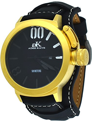 Adee Kaye #AK7285-MG/BK Men's Gold Tone Canteen Crown Protector Leather Band Watch