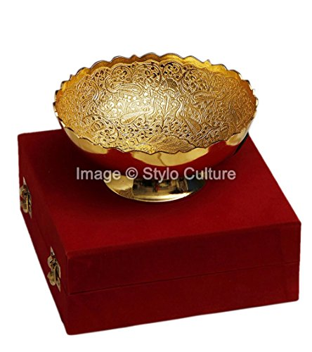 Stylo Culture Traditional Gold Decorative Bowl Gold Plated Brass Peacock Round Decorative Gold Bowl