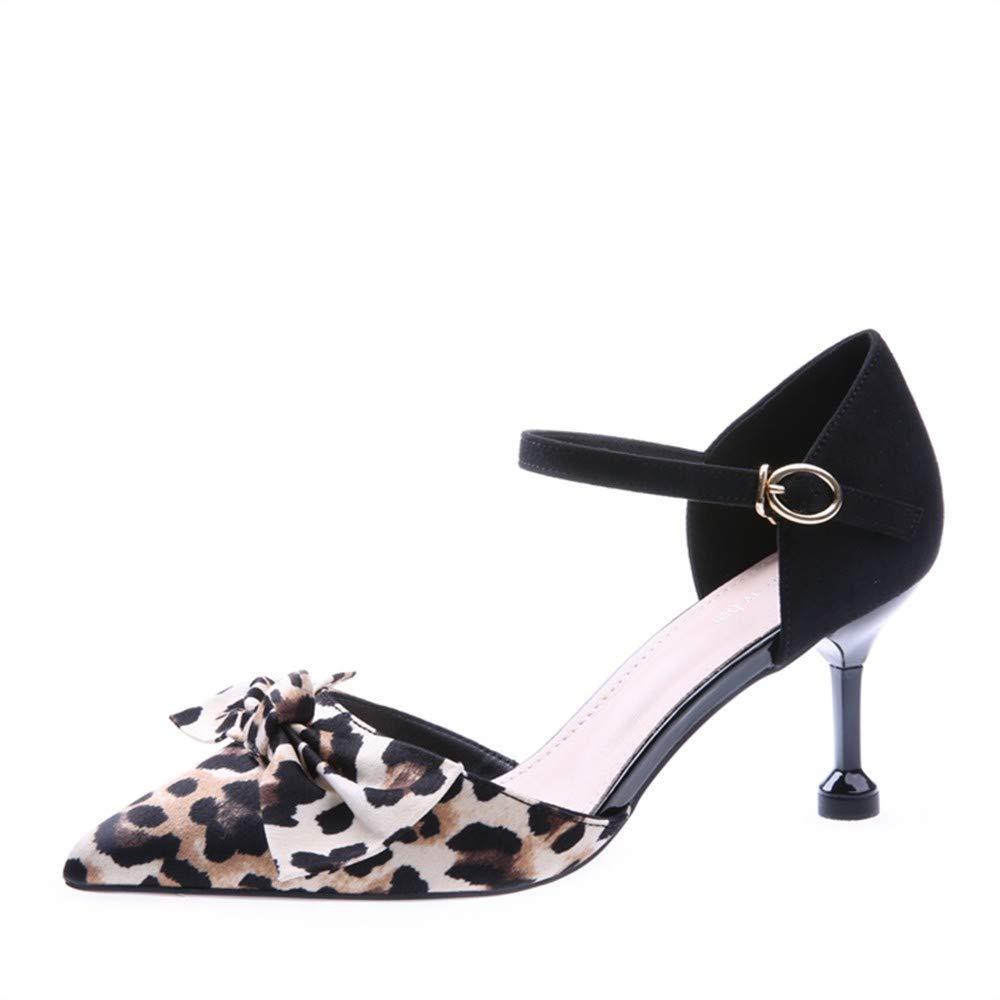 Scarpe col Tacco Europa E in America Signore qualità Pu Moda 7 Centimetri Arco Sexy Leopardo Fibbia Parola Fibbia Tacco Alto Scarpe Singole
