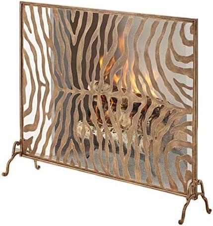 暖炉スクリーン シングル暖炉/ストーブ/グリルパネルゴールドファイアースクリーン、ベビー子供ペット保護のための火スパークガードカバー付きゼブラ柄
