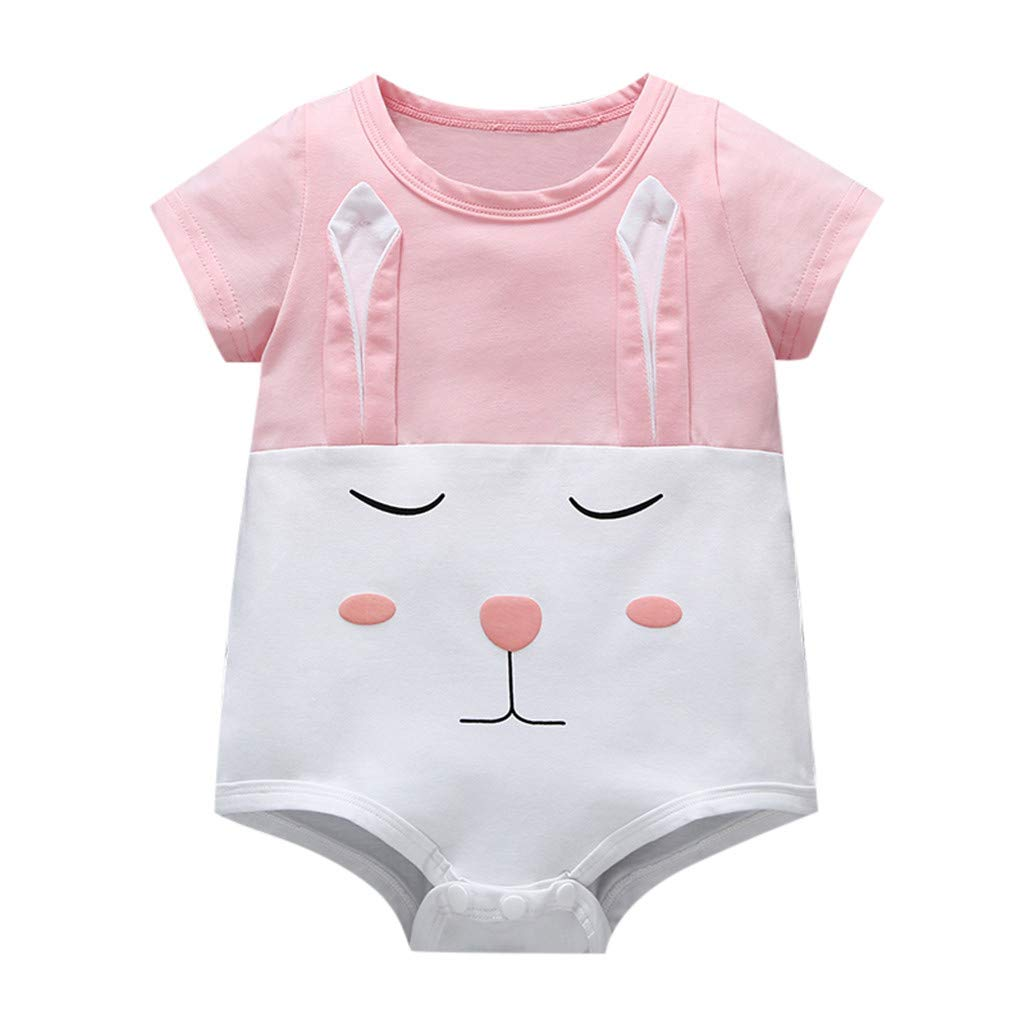 NUWFOR Newborn Baby Girl Kid Cartoon Rabbit Printed Short Sleeves Romper Bodysuit (Pink,0-6 Months)