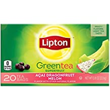 Lipton Green Tea Bags, Dragonfruit Melon 20 ct,  (pack of 6)