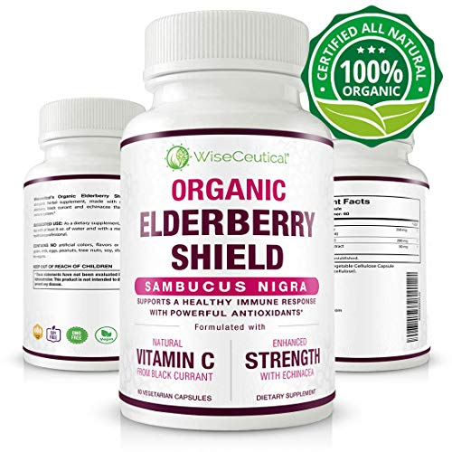 Organic Black Elderberry (Sambucus Nigra) with Organic Black Currant Extract and Organic Echinacea | Non-GMO, Sugar-Free, Natural Immune System Support. Homeopathic Remedy for Temporary Relief of Cold