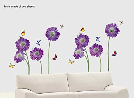 Purple Violet Flowers With Butterflies Nature Scenery Wall Sticker Decals