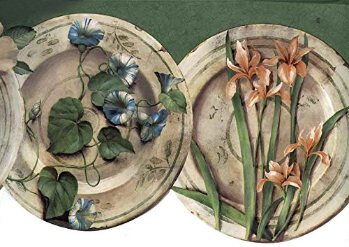 Wallpaper Border Green Floral Dishes Plate Die Cut Edge