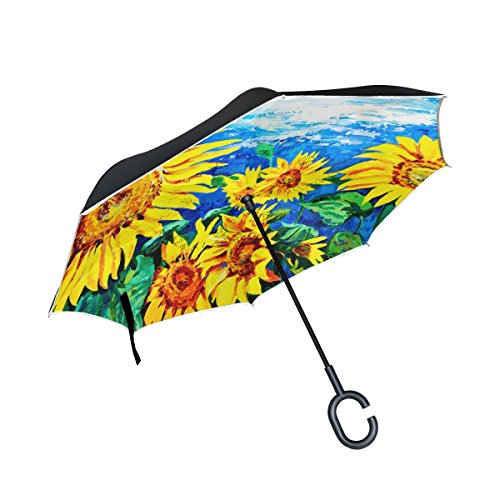 Painting Reverse Glass Patterns (My Daily Double Layer Inverted Umbrella Cars Reverse Umbrella Sunflower Oil Painting Windproof UV Proof Travel Outdoor Umbrella)
