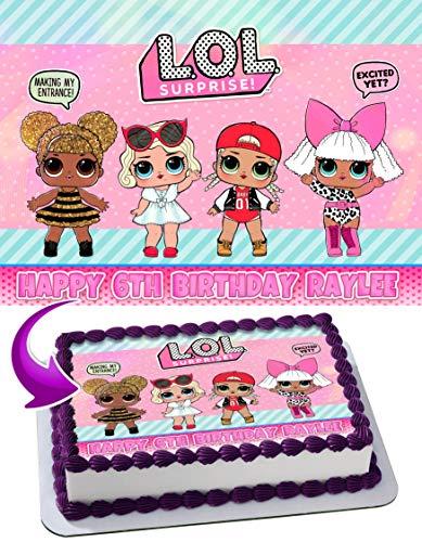 - Edible Cake Topper Personalized Birthday 1/4 Sheet Decoration Custom Sheet Party Birthday Sugar Frosting Transfer Fondant Image DLL231