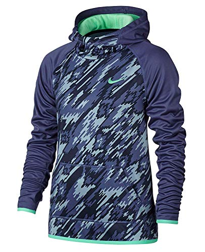 Nike Youth Girls Therma-Fit Hoodie Athletic Hoody Shirt (Small, Purple/Grey/Rio Teal)