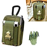 Artcraft(TM) Army Green Molle Camo Bag Military 1000D Nylon Utility Tough Heavy Duty Tactical Compatible Waist Pack Universal Waist Bags Casual Climbing Hiking Outdoor Rock Gear Holster Pouch Cycling Carrying Big Pouch Belt Waist Bag / Pocket for Lenovo ALL FIT Case Cover Skin