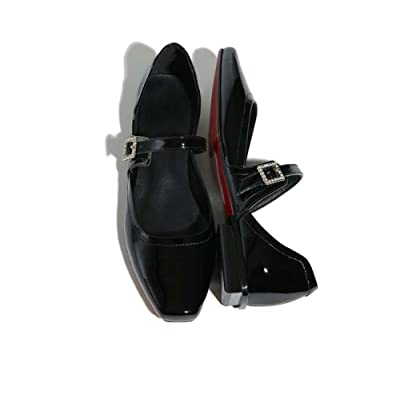 Onfly Mode Cuir Square Toe Peu profond Chaussures plates Mode Boucle diamantée Pompe Mary Jane Chaussures