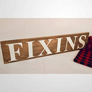 BYRON HOYLE Fixins Wood Sign,Wooden Wall Hanging Art,Inspirational Farmhouse Wall Plaque,Rustic Home Decor for Living Room,Nursery,Bedroom,Porch,Gallery Wall