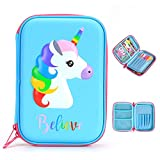 BTSKY Cute Unicorn Hard Shell Pencil Case- Large EVA Colored Pen Holder Box With Compartments Girls Cosmetic Pouch Bag Stationery Organizer(Blue)