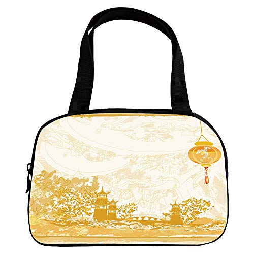 Personalized Customization Small Handbag Pink,Lantern,Old Paper with Ancient Japanese Buildings Depicted on Asian Retro Style Samurai Decorative,Light Yellow,for Girls,Personalized Design.6.3