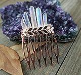 Boho Rose gold Aura Quartz hair comb rose gold hair jewelry summer hair pin slide comb summer hair jewelry