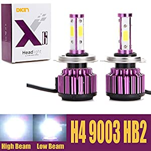 H4 9003 HB2 LED Headlight Bulbs 20000LM 200W 6000K Cool White High Low Dual Beam 360 Degree 4 Side COB Chips Super Bright All-in-One Auto Headlamps Conversion Kit Plug & Play – 2 Yr Warranty