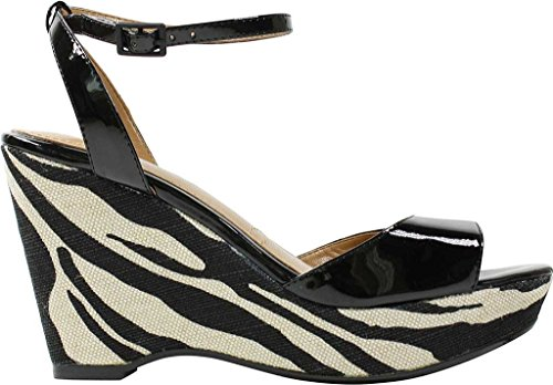 Sandal J Black Women's Linen Patent Zebra Renee Kenisha Wedge IxwIZCRqr