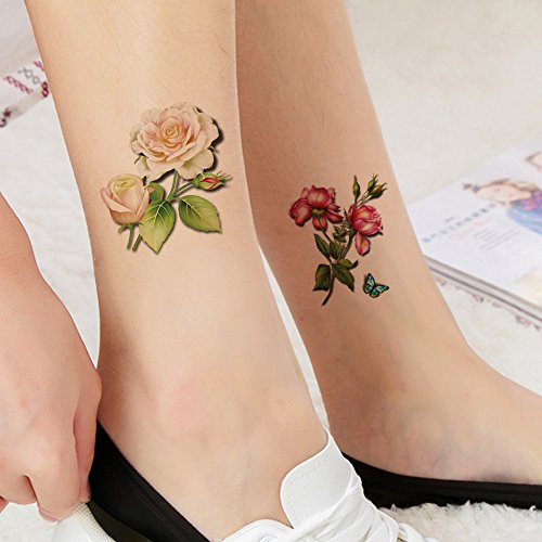 TAFLY White and Red Rose Flower Temporary Tattoo Stickers Fake Tattoos for Women Body Arm Leg Tattoos Stickers 5 Sheets