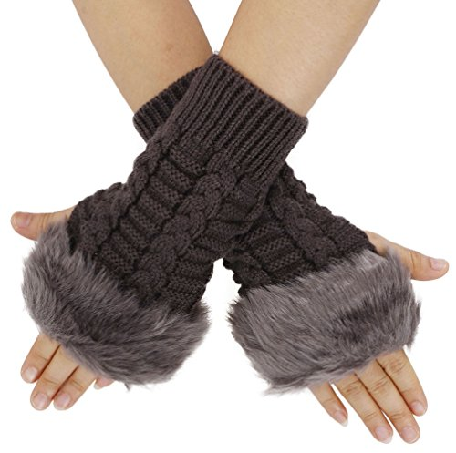 Womens Faux Fur Arm Warmers Cable Knit Fingerless Gloves Winter Mitten