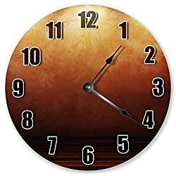 10.5 BROWN ORANGE ABSTRACT CLOCK - Large 10.5 Wall Clock - Home Décor Clock
