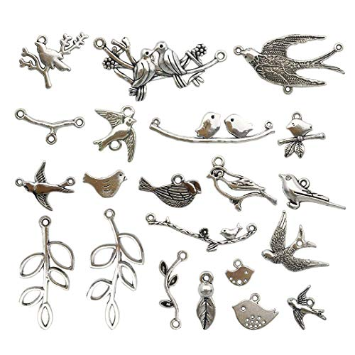 Youdiyla 64 PCS Birds Tree Charms Collection - Mixed Bird Life of Tree Leaves Swallows Branch Connector Metal Pendants for Jewelry Making DIY Findings (Silver HM14)