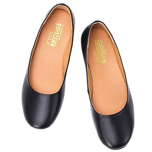 Aleader Kvinners Skinn Klassisk Komfort Ballerina Walking Flats Sko-størrelse Oppdatert Svart