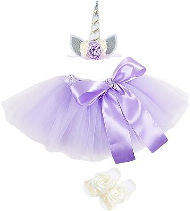 FENICAL Trajes de Vestido de Falda de tutú de niñas con Diadema de ...