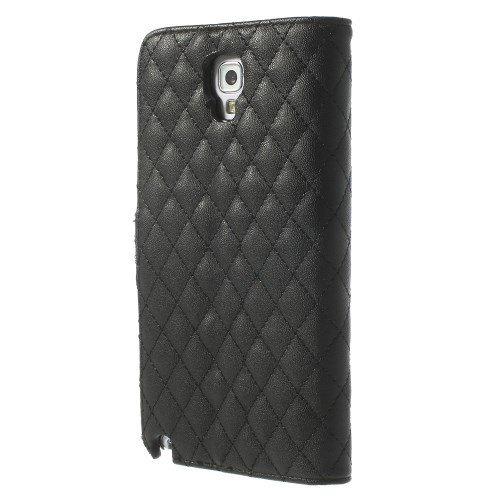 Caso del tirón la caja del teléfono móvil para Samsung Galaxy Note 3 Neo 3G / SM-N750, Galaxy Note 3 Neo LTE / GT-N7505 - Voltear Rhomb Case negro Flip Book Case
