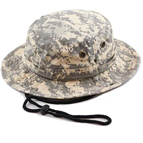 Unisex Summer Outdoor Packable Camouflage Bucket Hat (S/M, Grey Digital camo) ()