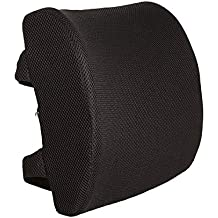Everlasting Comfort 100% Pure Memory Foam Back Cushion - Orthopedic Design for Back Pain Relief - Lumbar Support Pillow, 2 Adjustable Straps For Car or Office