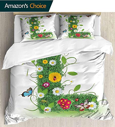 (Letter L Home Duvet Cover Set,Alphabet Capital L Design Daisies Wildflowers Other Plant Life Animal Fun Print Quilt Cover Set White Queen Pattern Bedding Collection 87