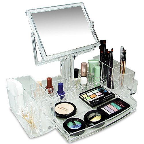 Ikee Design Luxury Cosmetic Makeup Acrylic Organizer With Two-Sided Mirror COM0320
