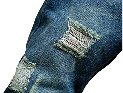 Slim Vintage Jeans Casual Con Denim Uomo In Fori Cher Da Pantaloni Grau Stile Rotti Fit TIgqp0Px