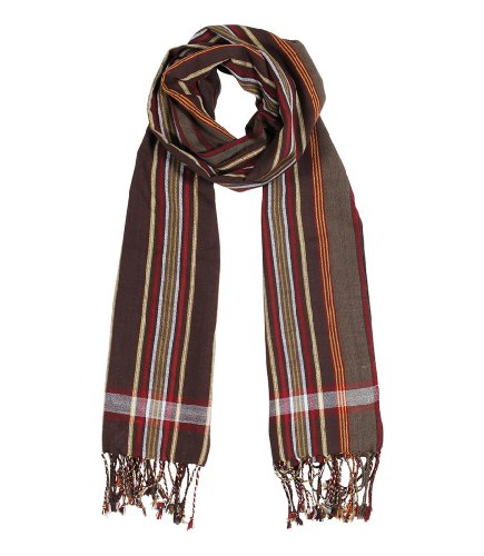 Men's George Modern Multicolor Stripe Scarf Natural Cotton, Brown by Anika Dali (Image #1)
