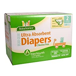 BabyGanics Ultra Absorbent Diapers - 108 Ct - Size 2