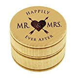 My Personal Memories Wood Ring Box Holder - Ring Bearer Pillow Alternative - Wooden Round Wedding Rings Holder (Happily Ever After Style - Brown)