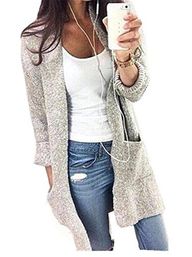 Cardigan Mujer Chaqueta de Manga Larga YOGLY Knit Slim Fashion las Mujeres Ocasionales de Rebecas Suéter Chaqueta de Punto con Bolsillo Suéter Outwear