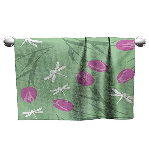 alisoso Dragonfly,Best Bath Towels Tulips and Dragonflies Flower Silhouettes English Pastel Stylized Pattern Graphic Pool Gym Towels Green Pink W 28