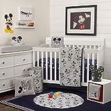 Disney Mickey Mouse 6 Piece Nursery Crib Bedding Set, Grey/Navy/Dark Charcoal/Black/Red