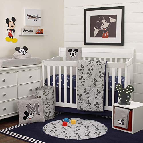Disney Mickey Mouse 6 Piece Nursery Crib Bedding Set, Grey/Navy/Dark Charcoal/Black/Red