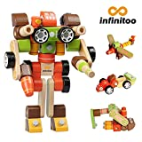 Building Blocks | Wooden Building Blocks infinitoo Wood Toy for Kids Toddlers over 3 Years Old | 100 Models up to Imagination | Educational Construction Blocks Assembled Wood Robots, Transformers, Cars, Boats, Airplanes DIY Toy Set | Perfect Holiday Birthday Gifts