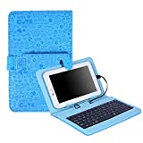 HDE Hard Leather Folding Folio Case for 7'' Tablets with Micro USB/USB-C Keyboard Slim Folding Stand Cover for Android Tablets (Blue Cartoon)