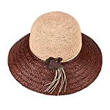 Rankei Straw Hat Summer Hats For Women Nice Wide Brim Floppy Hats Female Beach Hat With Floral,OneSize,BrownBrim