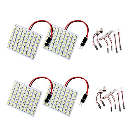 ToAUTO 4 X 48SMD White Light Panel T10 BA9S Festoon Dome Reading Auto Car LED Bulb Lamp