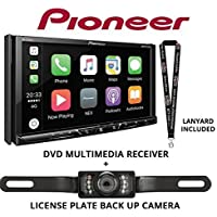 Pioneer AVH-2330NEX 7 DVD Receiver HD Radio Apple CarPlay Built in Bluetooth with License Plate Style Backup Camera and a FREE SOTS Lanyard