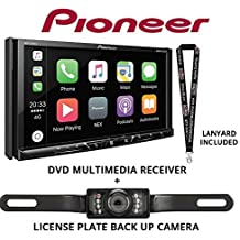 """Pioneer AVH-2330NEX 7"""" DVD Receiver HD Radio Apple CarPlay Built in Bluetooth with License Plate Style Backup Camera and a Free SOTS Lanyard"""