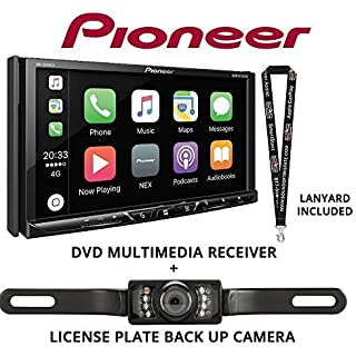 Sale Off Pioneer AVH-2330NEX 7' DVD Receiver HD Radio Apple CarPlay Built in Bluetooth with License Plate Style Backup Camera and a FREE SOTS Lanyard