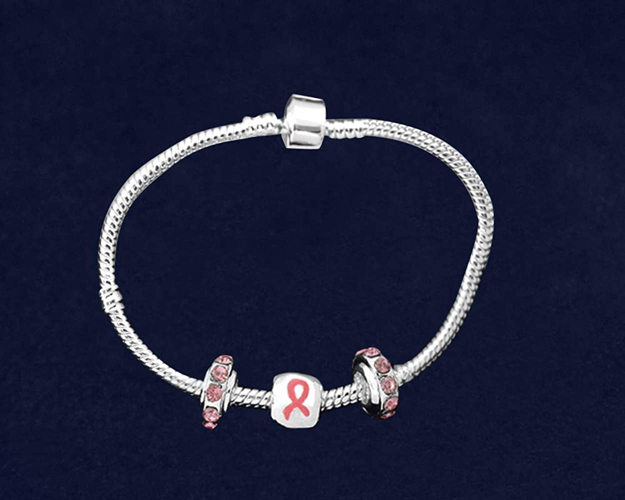 Breast Cancer Awareness Chunky Pink Ribbon Heart Charm Bracelet