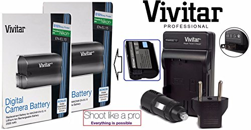- 2-Pcs EN-EL15 Battery & Rapid Charger for Nikon D7200 D7100 D7000 D610 D810 D750