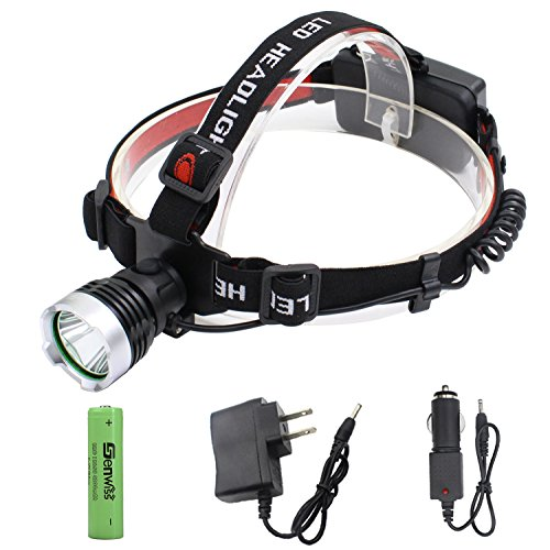 LED Headlamp Super Bright Headlight - Genwiss Lightweight 160 Lumen Head lamp,Headlights CREE XML T6 Head Torch for with Rechargeable Batteries,Car Charger, Wall Charger for Camping - Top Brighteyes Hat