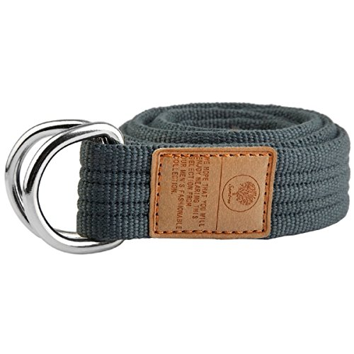 moonsix Canvas Web Belts for Men, Military Style D-ring Buckle Men's Belt, Dark Grey